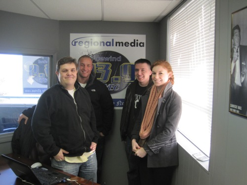 L to R: Sean Patrick (93.9FM), Brady Frieden (T4T Student Director), Bryce Verlinden and Julianne Delessio (both T4T members)